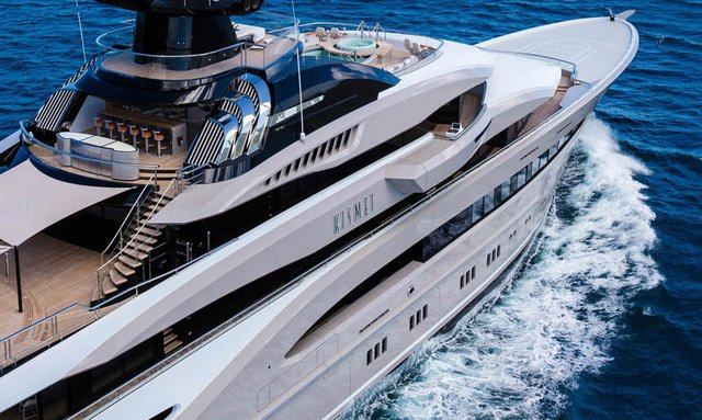 close up of the superstructure and radar arch of superyacht Kismet
