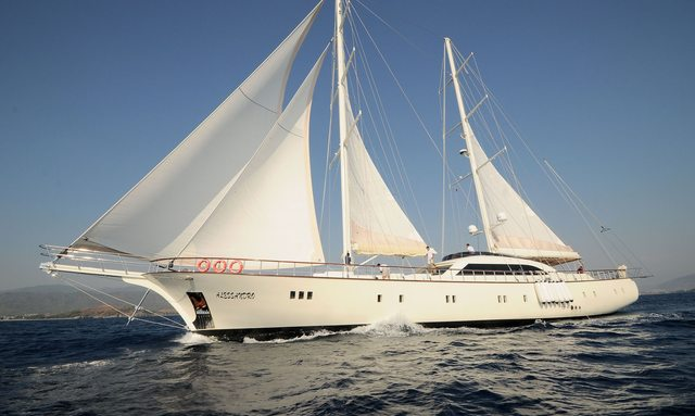 Side on view of sailing yacht Alessandro