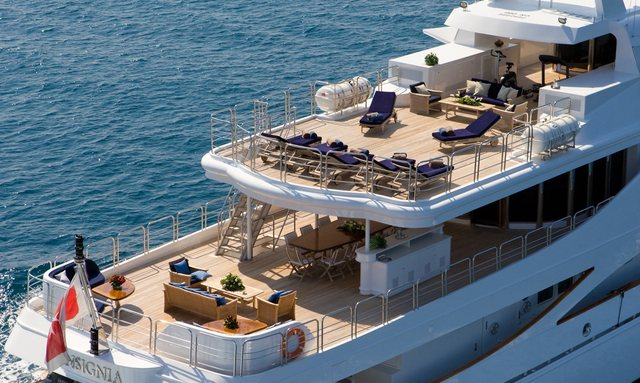 Aerial view of the deck spaces aboard charter yacht Insignia