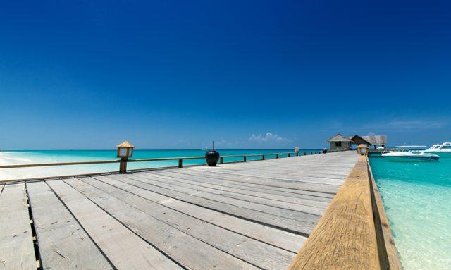 Yacht jetty the Maldives Island