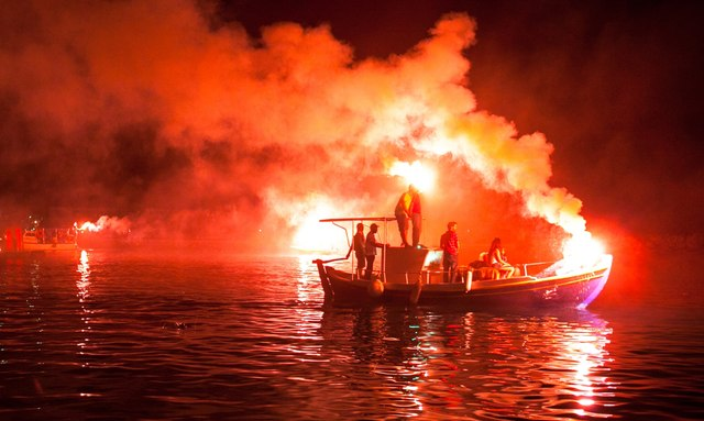 Burning of Judas Iscariot at sea Greek Islands