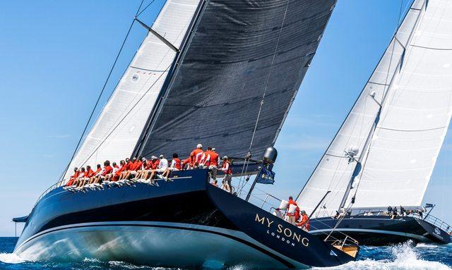 Sailing yacht My Song underway during Loro Piana regatta in Porto Cervo