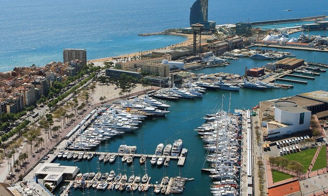 superyachts lined up in OneOcean Port Vell, Barcelona, for The Superyacht Show