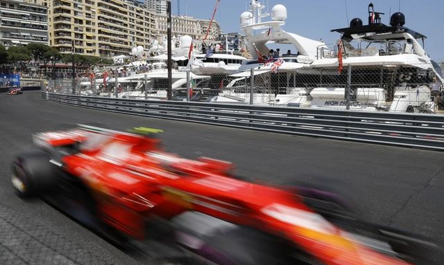 Car on the racetrack during F1 Monaco Grand Prix