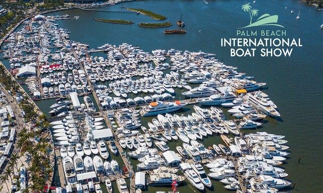Aerial shot of Palm Beach International Boat Show