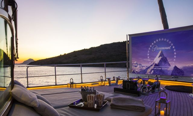 Cinema set-up on luxury yacht SATORI