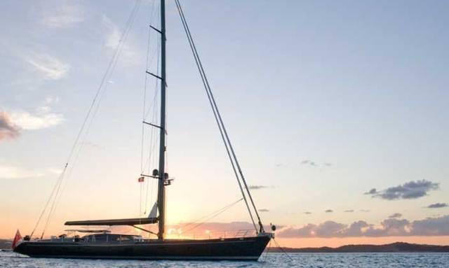 Sailing yacht MOONBIRD at anchor
