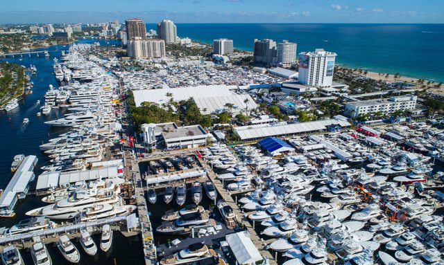hundreds of yachts line-up in Fort Lauderdale, Florida, for FLIBS