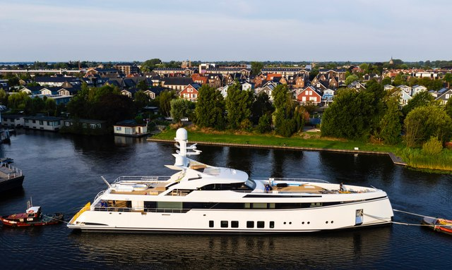 Feadship superyacht Project 706 leaving Facilities at Aalsmeer