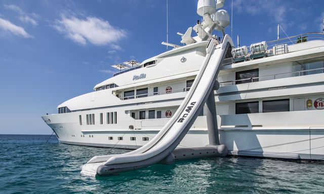 Superyacht Roma with water slide in France