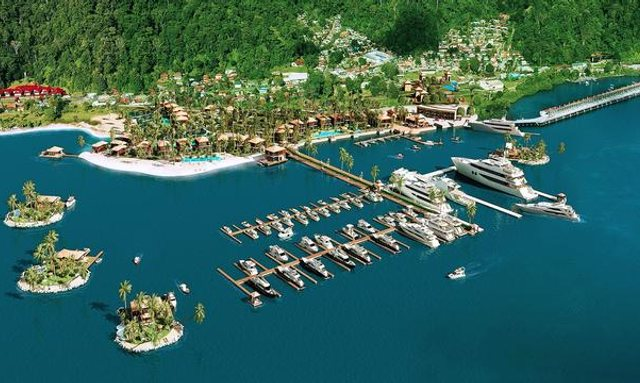 Artist impression of the new superyacht marina at Golfito Bay in Costa RIca