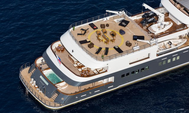 The aft deck of luxury yacht LEGEND seen from above