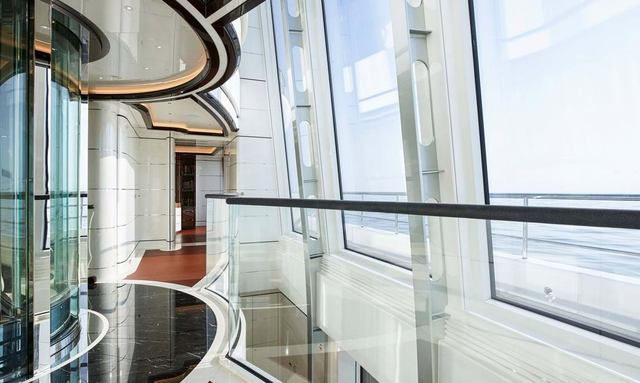 Glass atrium on board yacht EXCELLENCE