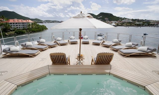 Jacuzzi on the deck of the Charter Yacht Reverie