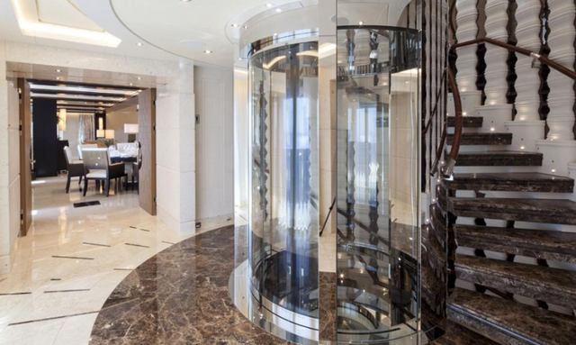 Show-stopping glass elevator  on Tranquility