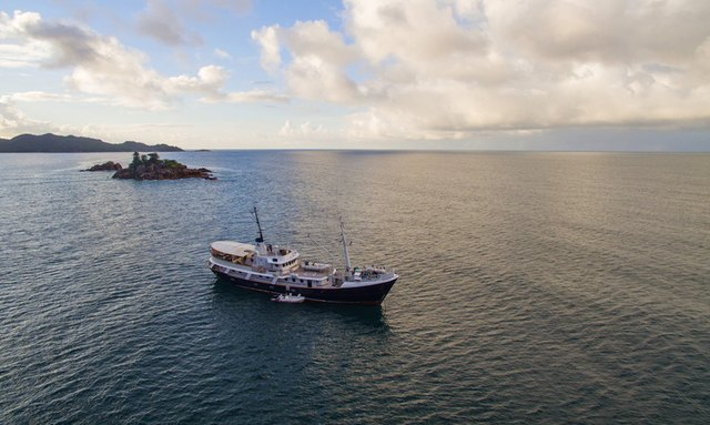 Aerial view of expedition Superyacht Drenec in the seas around Myanmar