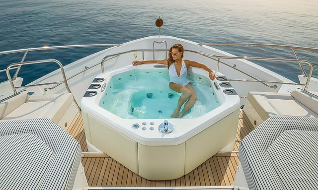 Charter guest relaxing in Jacuzzi in Amalfi Coast