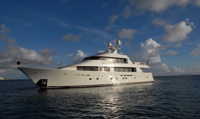 Charter yacht DONA LOLA at anchor in the Caribbean