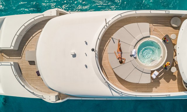 Luxury yacht Big Sky aerial shot