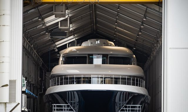 luxury yacht podium leaving shed