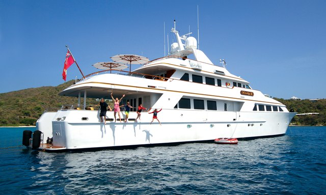 Guests jumping off the side of M/Y LADY J