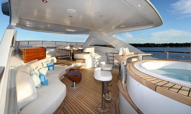 sundeck aboard superyacht SOLIS with Jacuzzi and al fresco dining areas