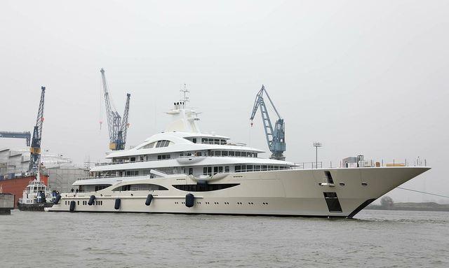111m Lurssen superyacht TIS hull repainted beige and renamed 'Lady Gulya'