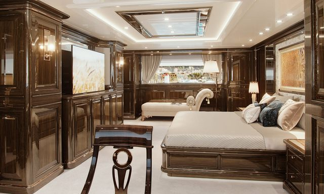Well-appointed owner's suite on Lady Lena