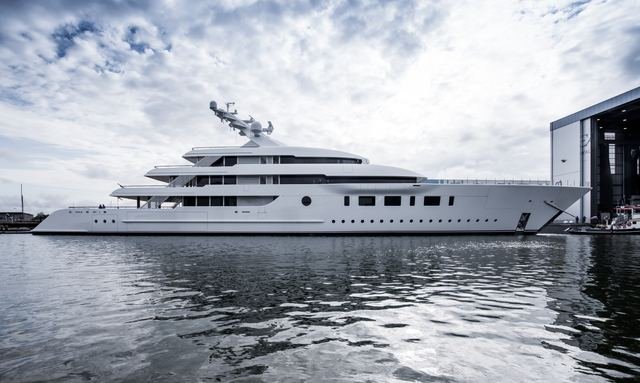 Feadship 95m hybrid superyacht BLISS hits the water