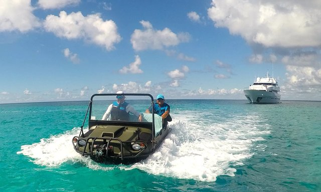 Charter M/Y MIRAGGIO and go anywhere with amphibious ATV