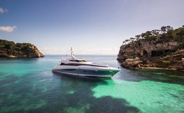 Benita Blue charter yacht exterior designed by Sam Sorgiovanni