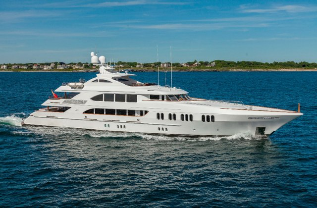 motor yacht Aspen Alternative underway on a charter vacation in New England