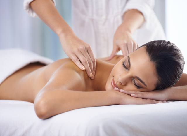 Woman receives a massage