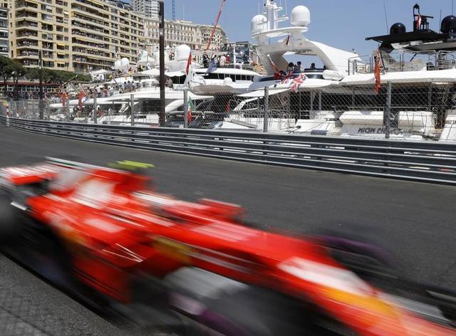 Car on the racetrack during F1 Monaco Grand Prix