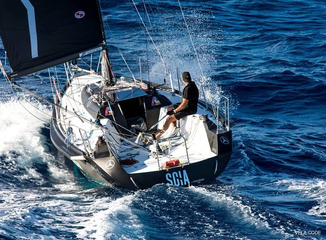 Sailing yacht SCIA underway with Dan Lenard on board