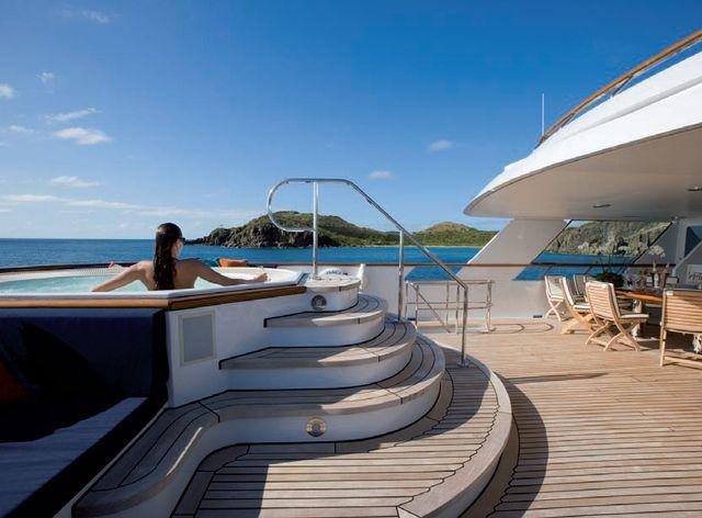 On deck Jacuzzi on board charter yacht Audacia
