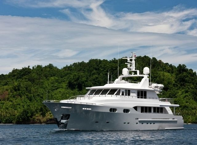 Charter yacht 'Chrisitna G' at anchor