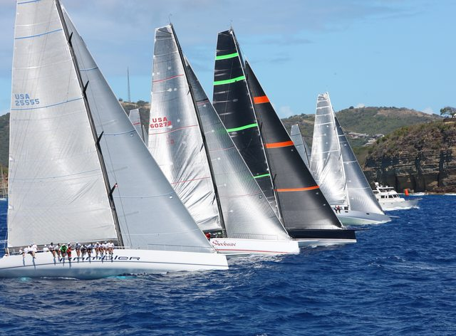 sailing yachts line up in Antigua for the RORC Caribbean 600