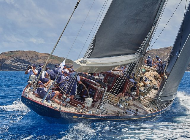Sailing yachts competing in St Barths Bucket Regatta