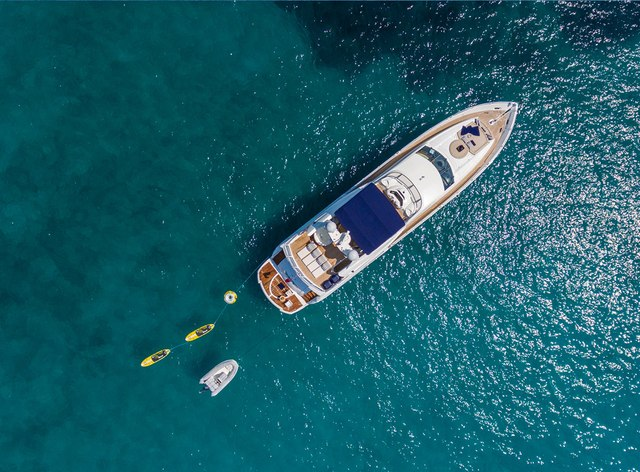 Aerial shot of luxury yacht Winning Streak 2