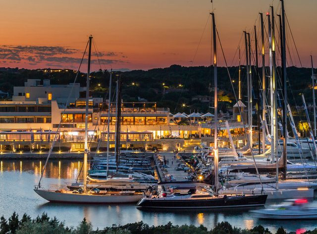Yacht Club Costa Smeralda in Sardinia at nightfall