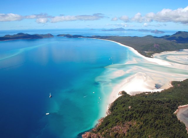 beach in whitsundays aerial shot