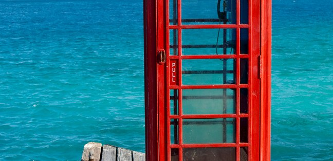 Red phone box on Virgin Gorda