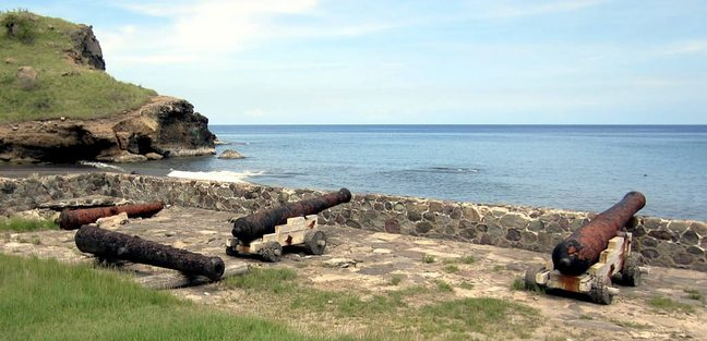 Old cannons on the coast