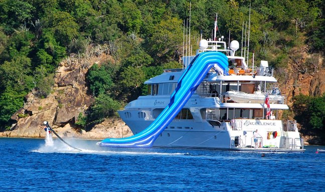 aft of superyacht EXCELLENCE with charter guest playing on the jetpack