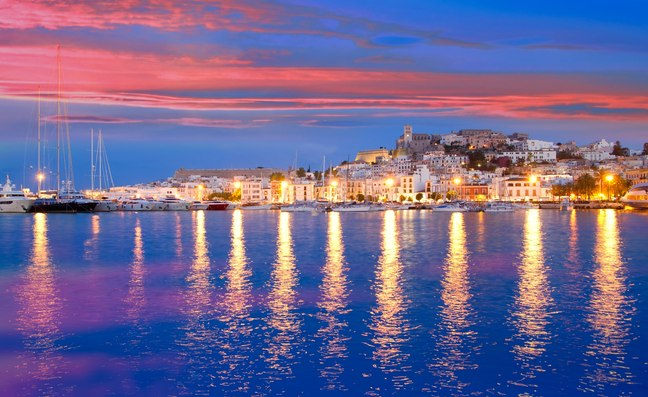 Ibiza Old Town as the sun sets