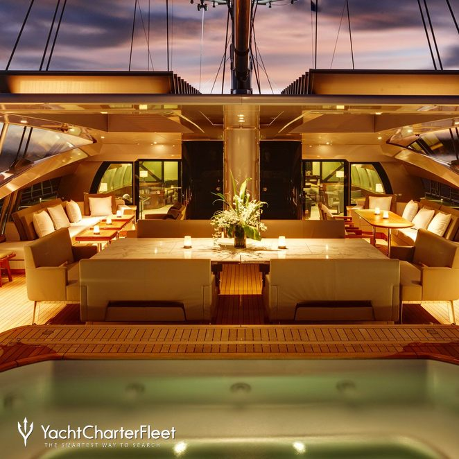 Aft Deck Night Jacuzzi Half Open