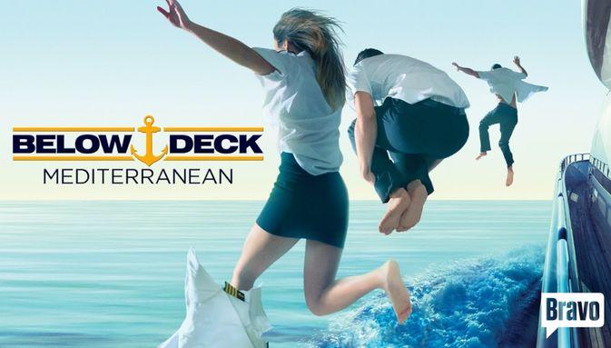 crew jump off superyacht in promotional image for Below Deck Mediterranean