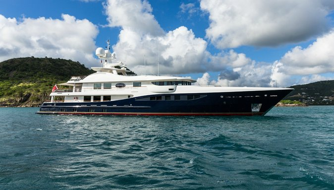 superyacht DENIKI anchors on a luxury yacht charter
