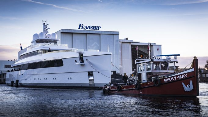 Feadship superyacht NAJIBA launches at the shipyard's Aalsmeer facilities